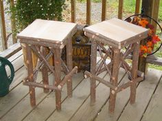 Set of Two Maine Rustic Wedding Twig Cedar Stands by logcabindecor