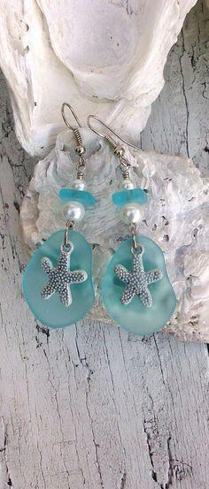 Aqua Patina Earrings  Sea Glass Earrings  by SecretStashBoutique