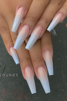 Blue Ombre Nails, Blue Acrylic Nails, Acrylic Nails Coffin Short, Simple Acrylic Nails, Light Blue Nails, White Ombre, Gradient Nails, Coffin Nails, Ombre Nail Colors