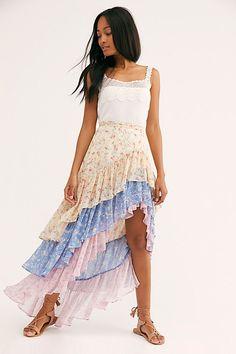 New Arrivals: Women's Clothing Bohemian Skirt, Boho Skirts, Boho Dress, Chiffon Skirt, Floral Chiffon, Free Clothes, Clothes For Women, Maxi Styles, Mixing Prints