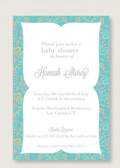 arabic inspired baby shower invitation