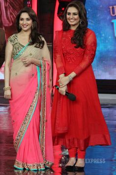 Madhuri Dixit and Huma Qureshi visit the sets of 'Bigg Boss 7' to promote 'Dedh Ishqiya'.