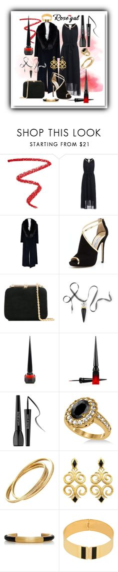 """Rosegal black & gold maxi dress, classy"" by caroline-buster-brown ❤ liked on Polyvore featuring NARS Cosmetics, Sorelle Fontana, Jimmy Choo, Loriblu, Christian Louboutin, MAKE UP FOR EVER, Allurez, Cartier and CA&LOU"