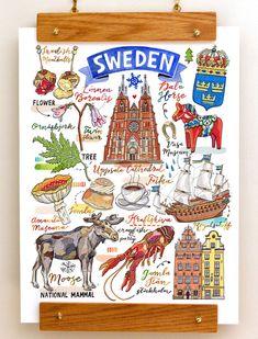 Sweden Print National symbols Sverige illustration by LouPaper Uppsala, Vikings, Horse Flowers, Travel Sketchbook, Sweden Travel, Italy Travel, National Symbols, Viking Symbols, The Beautiful Country