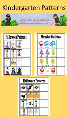 Children learn math patterns such as the AB, ABC, and AAB patterns all throughout October.  This can be a great activity during parties for parents to do with their children as they are waiting for a next station. These are also great for portfolio keepsakes. Print and have children complete the pattern for assessment documentation. Fall Preschool Activities, Preschool Math, Educational Activities, Project Based Learning, Kids Learning, Patterning Kindergarten, Math Patterns, Learn Math, Creative Curriculum