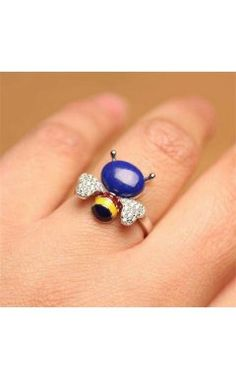 adorable ring gift for daughter lapis lazuli bee adjustable ring
