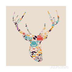 Art Print: Retro Hipsters Icons Reindeer by cienpies : Cool Poster Designs, Cool Posters, Deer Wall Art, Poster Prints, Art Prints, Find Art, Framed Artwork, Reindeer, Retro