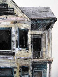 Seth Clark is a mixed-media and collage artist from Pittsburgh who has been working on a series about collapsing and abandoned buildings. Abandoned Buildings, Old Buildings, Abandoned Places, Gcse Art Sketchbook, Sketchbook Layout, House Drawing, Drawing Style, Body Drawing, Drawing Art