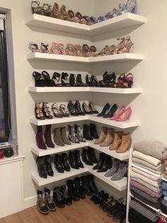 Shoe Shelf In Closet, Shoe Shelves, Shoe Closet Organization, Wardrobe Design Bedroom, Closet Bedroom, Room Ideas Bedroom, Bedroom Decor, Closet Remodel, Glam Room