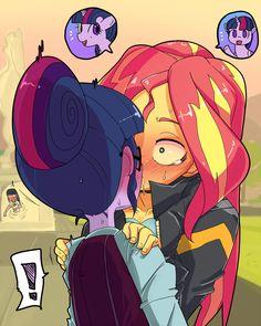 #1008657 - artist:tsukusun, blushing, caught, drool, equestria girls, exclamation point, friendship games, human twilight, kissing, lesbian, love triangle, pixiv, shipping, sloppy kissing, spoiler:friendship games, suggestive, sunset shimmer, sunsetsparkle, sweat, twilight sparkle - Derpibooru - My Little Pony: Friendship is Magic Imageboard