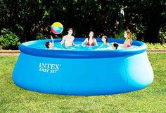 Intex x Inflatable Easy Set Above Ground Swimming Pool, Ladder And Pump Above Ground Pool Liners, Best Above Ground Pool, Above Ground Swimming Pools, In Ground Pools, Intex Above Ground Pools, Pool Cover Roller, Solar Pool Cover, Outside Showers, Swimming