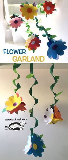 FLOWER GARLAND (krokotak)FLOWER GARLAND Paper Flower Craft This adorable paper flower craft is perfect for welcoming spring in your home. Kids Crafts, Diy And Crafts, Arts And Crafts, Easter Books, Christmas Coloring Pages, School Decorations, Christmas Colors, Spring Crafts, Flower Crafts