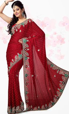 #Indian #Bridal Wear Maroon #Saree In #Embroidered Design | @ $204.04