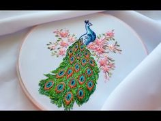 HAND EMBROIDERY:PEACOCK   ВЫШИВКА: ПАВЛИН - YouTube
