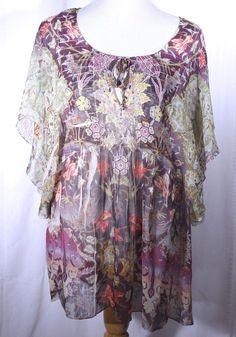 Dress Barn Size 2X Multi-Color Floral Paisley Boho Top Blouse Tunic Semi Sheer #Dressbarn #Blouse #Casual