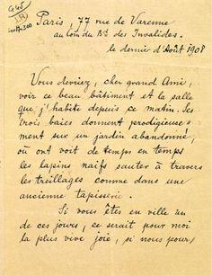 Lettre de Rilke à Rodin. © Musée Rodin