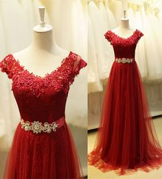 burgundy prom dress , prom dress long, evening dress long , long party dress, lace prom dress, lace evening dress, custom make occasssion prom dress on www.babyonlinedress.com