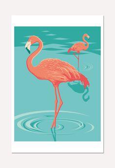 Affiche : illustration de deux flamants roses (poster 30 x 45 cm)