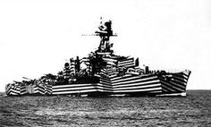 """Dazzle painting"" , invented by British artist and naval officer Normal Wilkinson, was an effective form of camouflage at sea."