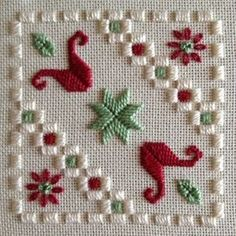 Tecido: creme 25CT Lugana Tópicos: DMC perle n º 5 e n º 8 e encalhado algodão (Ecru, 368, 498)