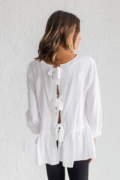 Tie Back Peplum in White