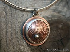 Etched Copper and Sterling Silver Necklace by NaughtyRedheadDesign, $65.00