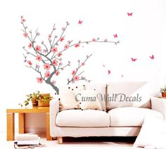 I want! pink cherry blossom wall decals butterfly vinyl wall by cuma, $48.00
