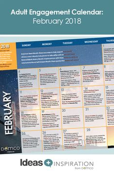 Demco Adult Engagement Calendar February 2020 118 Best Adult Programming images in 2019 | Library programs, Free