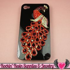 XL Vibrant RED PEACOCK Crystal Covered Gold Alloy Bird Decoden Cabochon Cellphone Decoration