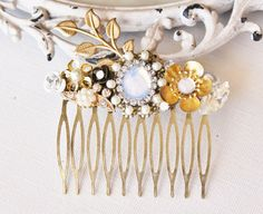 White Opal Bridal Hair Comb TRUE Vintage by hangingbyathread1, $46.00