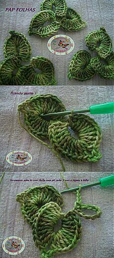 Diy Easy Free Crochet Flower PatternYou can find Crochet leaves and more on our website. Crochet Leaves, Crochet Motifs, Knitted Flowers, Freeform Crochet, Irish Crochet, Crochet Stitches, Crochet Patterns, Free Crochet Flower Patterns, Knitting Patterns