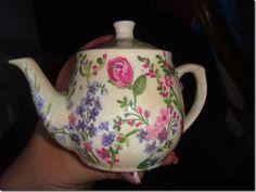 DECOUPAGE tea pot