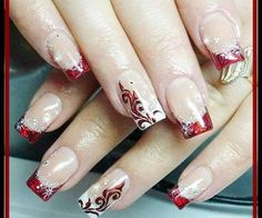 nails red Wedding nails red and white nailart ideas for 2019 Wedding Nails For Bride, Bride Nails, Finger Coils, Xmas Nails, Christmas Nails, Christmas Glitter, Christmas Christmas, White Toenail Fungus, Red And White Nails
