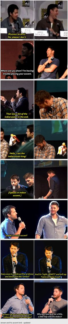 """Jensen Ackles and Misha Collins [gifset - glorious! click on it] - """"Jensen and his (indiarussian) accent kink"""" - Cockles"""