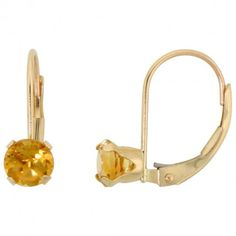 10k Yellow Gold Natural Citrine Leverback Earrings 5mm Round 1 ct, 9/16 inch