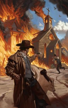 Gunfight in a burning town. Tyler Jacobson