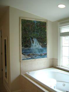 Fused Glass Tile Waterfall Mural | Designer Glass Mosaics|Designer Glass Mosaics