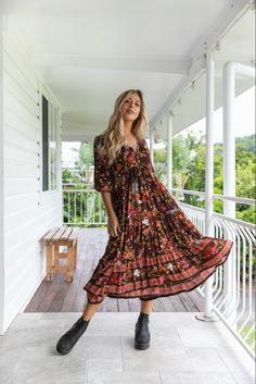 Our bohemian Hendrix Midi Dress in the Coco Flora print is a winner. Available as a limited edition. Modern Bohemian, Bohemian Style, Flora Print, Boho Midi Dress, Australian Fashion, Fashion Labels, Printing On Fabric, Vintage Inspired, Stylish