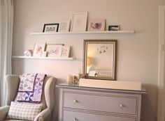 Little girl nursery. Wingback armchair. Coco Republic Cabot bay armchair. Ikea hack Hemnes drawers. Nail head trim. Ikea ribba picture ledge. Gallery wall. Patchwork quilt. Change table. Change pad.