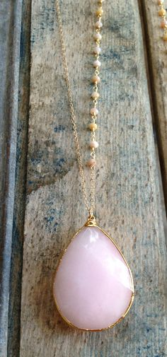 Gold Edged Pink Opal Stone Pendant Necklace with wire wrapped pink opal stone chain