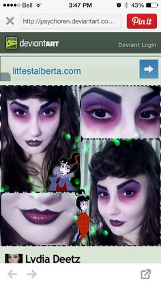 Lydia Deetz makeup from Beetlejuice cartoon.