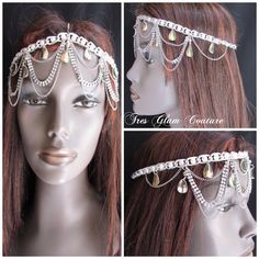 Price $25.00 Rhinestone and chain Fashion Head Chain. One Size fits all. Email tresglamcouture@gmail.com