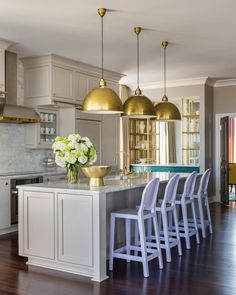Get inspired by Traditional Kitchen Design photo by Tobi Fairley Interior Design. Wayfair lets you find the designer products in the photo and get ideas from thousands of other Traditional Kitchen Design photos. Light Grey Kitchens, Beige Kitchen, Grey Kitchen Cabinets, Teal Cabinets, Brass Kitchen, Kitchen Hardware, Brass Hardware, Kitchen Pendants, Island Pendants