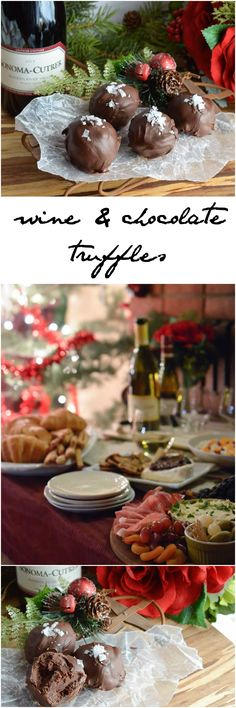 This Wine Chocolate Truffle Recipe is perfect for a Wine Tasting Party. These homemade truffles along with sweet and savory appetizers will make your holiday wine party extra special! #ad #SharetheCutrer