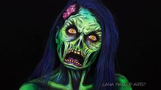 Talented Israeli makeup artist Ilana Kolihanov recently demonstrated how to create a creepy comic book style zombie face painting with makeup. Kat Von D Makeup, Makeup Fx, Creepy Makeup, Horror Makeup, Zombie Makeup, Makeup Eyes, Makeup Brushes, Zombie Face Paint, Pop Art Zombie