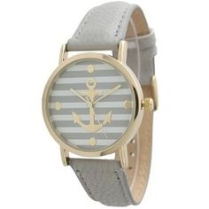 Women's Geneva Striped Anchor Style Leather Watch - Grey. Free shipping and guaranteed authenticity on Women's Geneva Striped Anchor Style Leather Watch - GreyCase Size: 40mm x 40mm Case Thickness: 7mm Band Wi...