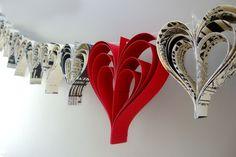 Paper heart Valentines garland.