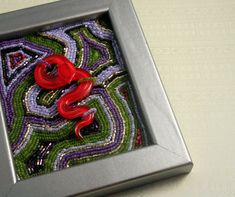 Uto  Beaded Painting with Glass Snake by ThreeFatesDesign on Etsy, $120.00
