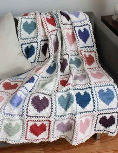 Maggie's Crochet · Scrap Hearts Afghan Pattern - This would be a great way to use my scraps!might try to get free graph and go from there. Motifs Afghans, Crochet Motifs, Afghan Crochet Patterns, Crochet Squares, Filet Crochet, Crochet Ripple, Granny Squares, Quilt Pattern, Crochet Afgans