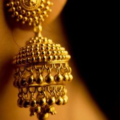 Gold jhumkas. Shop for your wedding jewellery with Bridelan - a personal shopper & stylist for weddings, also a resource for finding rare jewels of India. Website www.bridelan.com #Bridelan #southindianjewellery
